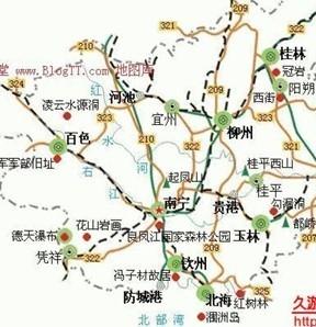 南濒北部湾,面向东南亚,西南与越南毗邻,从东至西分别与广东,湖南